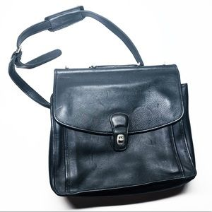 Coach Black Leather Labtop Shoulder Crossbody Bag